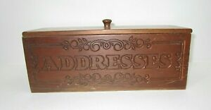 Vintage Desktop Oak Wood Address Box With Cover Lid Hand Tooled Keepsake 11 5x4