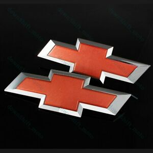 Red Front Grill Tailgate Bowtie Emblem Set For 2014 2016 Gm Chevy Silverado
