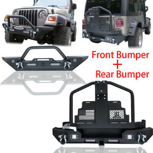 Texture Front And Rear Bumper W Oil Drum Rack Bar Fit 87 06 Tj Jeep Wrangler