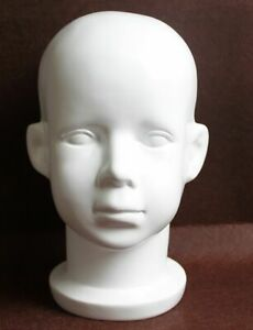 Fiberglass White Baby Children Mannequin Head Model For Wig And Hat Display