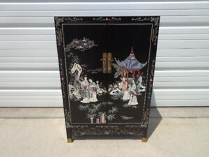 Chinese Cabinet Console Vintage Chinoiserie Storage Nightstand Entry Way Table