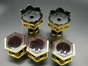 Set Of 5 Japanese Buddhist Altar Fitting Lacquer Offering Stand Pair Plastic