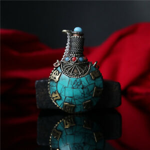 Tibetan Hand Studded Turquoise Stone Snuff Bottle Tibetan National Snuff Bottle