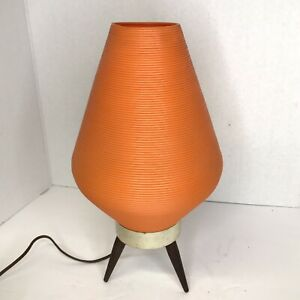 Vintage Mid Century Atomic Tripod Beehive Plastic Orange Shade Table Lamp