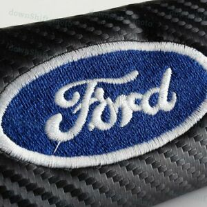 1 Set Black Carbon Look Seat Belt Cover Shoulder Pads Embroidery For Ford Racing