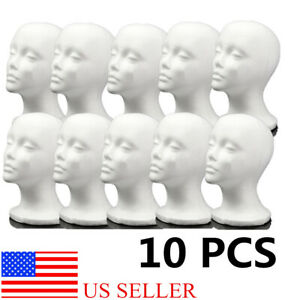 10pcs Styrofoam Foam Mannequin Female Head Model Wig Glasses Hat Display Stand