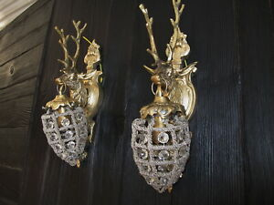 Deer Pair Sconces Crystal Wall Lamp Art Deco Bronze Hunting