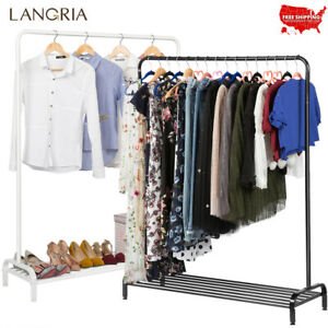 All metal Free Standing Commercial Clothing Garment Rack Dry Hanger Shoes Shelf