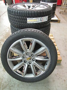 22 New Gmc Chevy Suburban Tahoe Hyper Chrome Wheels Bridgestone Tires 5696 Sgf
