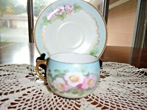 Hand Painted Pink Apple Blossom Tea Cup And Saucer Signed Bone China