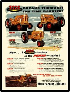 Minneapolis Moline Farm Equipment New Metal Sign Models 335 445 Tractor Featured