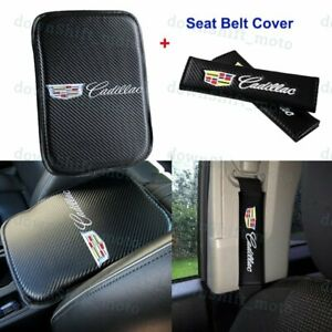 Carbon Fiber Center Armrest Cushion Pad Cover Seat Belt Cover Set For Cadillac
