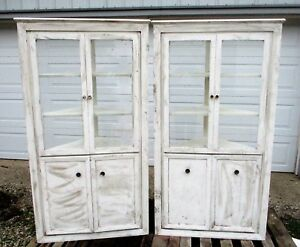 Antique Built In Corner Cabinets Matched Pair Farmhouse Curio Bookcases Shelves