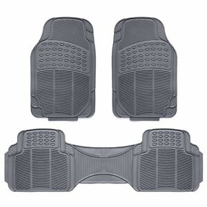 3pc Car Floor Mat Universal Set Carpet Mats Rugs Truck Suv Deluxe Rubber Gray