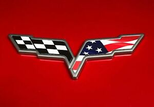 C6 Corvette American Flag Checkered Flag Emblem Overlay Vinyl Stickers