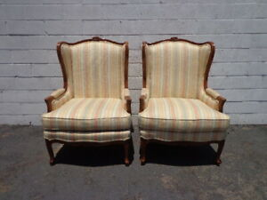 Pair Of Chairs Armchair Wing Back Antique Bergere Traditional Hollywood Regency