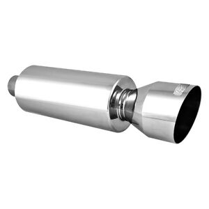 Dc Sports Ex 5018 304 Ss Round Polished Exhaust Muffler With Angle Cut Tip