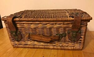 Antique Vtg Basket Picnic Fishing Utility Chest Trunk Brown Wicker Wood Leather