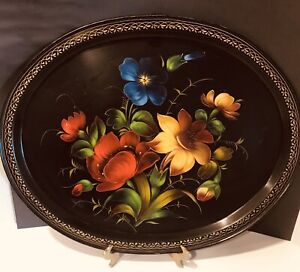 Vintage Large Oval Platter Or Tray Hand Painted Tole Tray Toleware