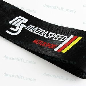 1x Black Jdm Mazdaspeed Racing Drift Car Tow Towing Strap Belt Hook For Mazda
