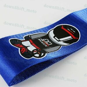 1pcs Blue Jdm Mugen Racing Drift Rally Car Tow Towing Strap Belt Recovery Hook