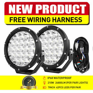 Pair 7inch 380w Cree Spot Led Driving Lights Round Off Road 4x4 Spotlights Flood