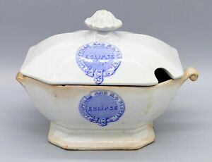 Antique Eclipse Louisville New Orleans Packet Steamship Tureen Ironstone Dish