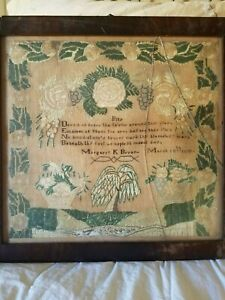 Victorian Antique Hand Embroidered Silk Sampler From 1830