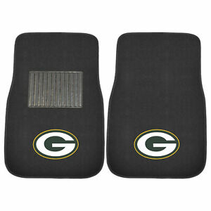 Fanmats 10744 Nfl Green Bay Packers 2 Pc Embroidered Car Mat Set 17 X25 5