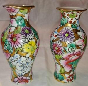 Pair Of Chinese Famille Rose Vases Qianlong Vase Bottle Jar Pot