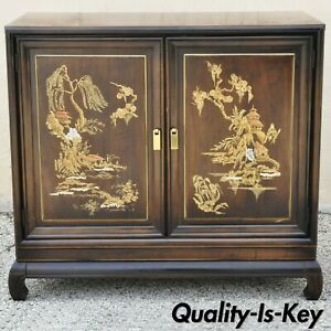 Vintage Oriental Chinese Ming Style 2 Door Hand Painted Cabinet Server Buffet
