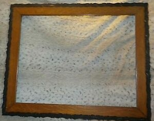 Antique Oak Frame 20 X 26 Scalloped Rails 3 Wide Open Back 100 Years Old