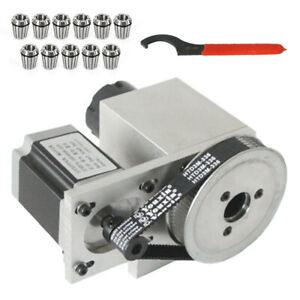 4 Axis Cnc Sepper Motor 11pcs Er32 Spring Collet Set 4th Axis Hollow Shaft New