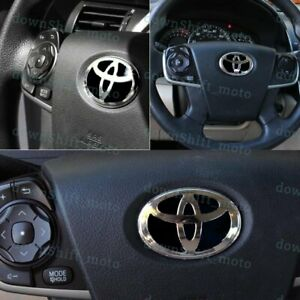 1pcs New Black Steering Wheel Emblem Badge Sticker For Toyota 47x 68mm