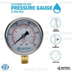 Glycerin Filled Pressure Gauge 1 100 Psi For Ro Ro di Water Filter Systems