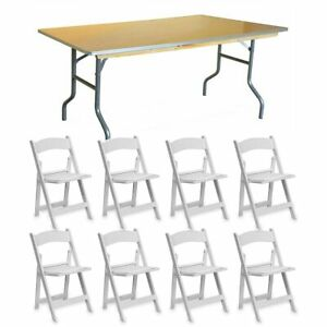 8 White Resin Chair 72 Wood Folding Table School Office Party Furniture Set