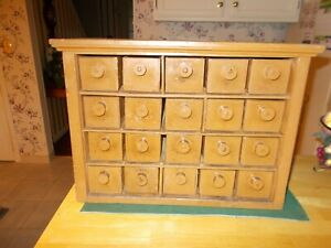 Early 1900s Hand Made Out Of Cheese Boxes Apothecary Chest With 20 Drawers Paint
