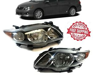 For 2009 2010 Toyota Corolla Black Headlight Clear Lens Left Right Headlamp Set