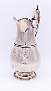 Antique Gorham Coin Silver Water Pitcher Fitchburg Worcester Railroad Award