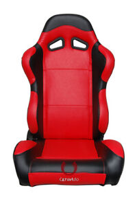 Cipher Auto Racing Seats Black And Red Carbon Fiber Pu Leatherette Pair
