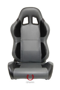 Cipher Auto Racing Seats Gray And Black Carbon Fiber Pu Leatherette Pair