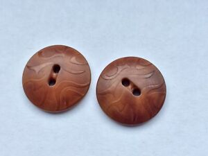 2 Pressed Tagua Nut Vegetable Ivory Antique Buttons With Art Deco Pattern
