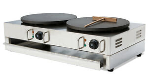 Intbuying 220v Electric Double Crepe Maker Machine Non Stick Pancake Pan Griddle