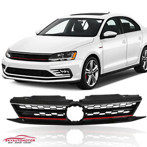 Fits For 15 17 Volkswagen Jetta Front Grille Red Trim Gloss Black Honeycomb