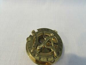 Vintage Made In England Compass Brass Body W Glass Crystal And Sundial