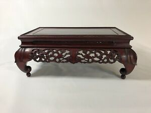 Antique Chinese Wood Hand Carved Decorative Skirting Cabriole Legs Low Table
