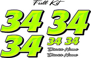 Custom Race Car Numbers Decals Graphics Full Number Kit Marquee Chizzel