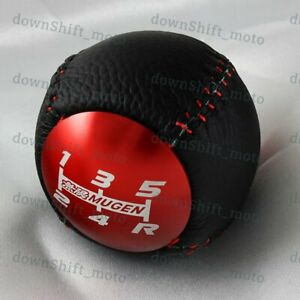 Jdm Mugen Leather 5 Speed Shift Knob Red For Honda Crz Type R Civic Fa5 Fg2 Si