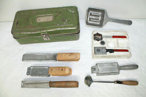 VINTAGE Fishing Sinker Weight Lead Molds LOT with box