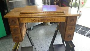Antique Singer Treadle Sewing Machine No 5 Cabinet Complete Top Ornate Drawers